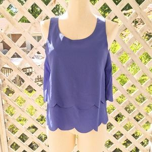 Purple tiered scalloped open back tank top
